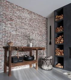 58 Ideas Wall Old Brick Interior Design Brick Wall Bedroom, Old Brick Wall, Faux Brick Walls, Bedroom Wall Colors, Brick Interior, Interior Exterior, Interior Design, Wall Collage Decor, Living Room Shelves