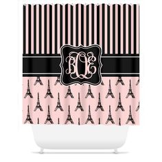 Monogrammed Shower Curtain - Paris Eiffel Tower - Black, White, Pink