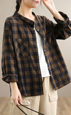 Classy Chocolate PlaidTop Lapel Pockets Tunic Spring Shirts Plaid Tunic, Spring Shirts, Linen Blouse, Pattern Fashion, Long Sleeve Tops, Autumn Tops, Linen Tops, Tunic Tops, Classy