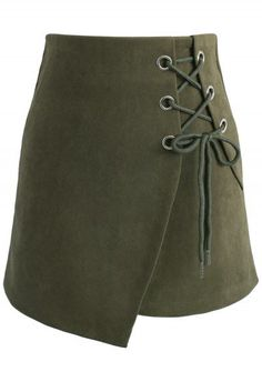 Lace-up Charisma Flap Skirt in Army Green - New Arrivals - Retro, Indie and Unique Fashion Golf Skirts, Cute Skirts, High Skirts, Going Out Skirts, Olive Green Skirt, Chicwish Skirt, Lace Up Skirt, Embellished Skirt, Teal