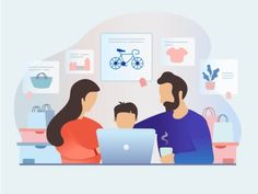 Family shopping designed by Tetiana Vozniak. Connect with them on Dribbble; Family Vector, Saint Charles, Show And Tell, Concept, In This Moment, Illustration, Fun, Shopping, Search