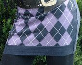 Argyle skirt / bum warmer - Teen's or Petite Women's upcycled from a recycled 100% Navy Blue, Purple and White Wool Sweater