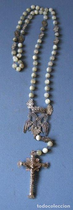 antiguo rosario con cruz de filigrana y cuentas de nacar / madre de perla (65cm aprox) - Foto 1