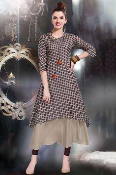 Brown Cotton Applique Embroidered Designer Kurti-WKR1163 - Buy Online #cotton #kurti #applique #embroidered #designer #samyakk #bollywood #brown