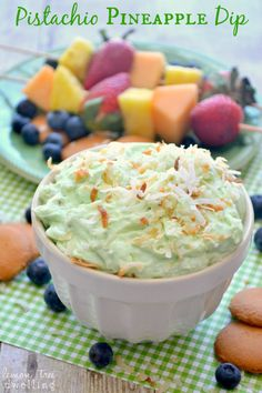 Pistachio Pineapple Dip - serve with cookies or fruit - 5 ingredients. Makes a great party dip!