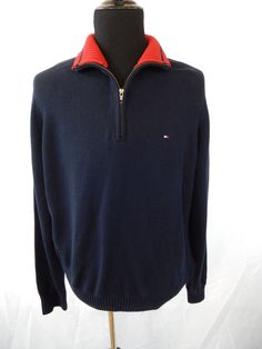 Tommy Hilfiger Half Zip Sweater Blue Men's Large Long Sleeve Double Collar EUC  #TommyHilfiger #FullZip #ebay
