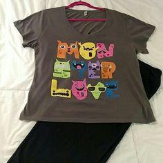 Monster Love vintage tee shirt Used fun  vintage tee Tops Tees - Short Sleeve