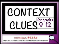 Context clues are so important; they are part of the Common Core Standards in grades TWO through TWELVE! This lesson focuses on grades 6 through T High School Classroom, English Classroom, Classroom Ideas, Task Analysis, Thing 1, Teaching Strategies, Teaching Tools, Context Clues, Common Core Standards