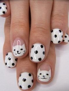 Easy Nail Designs For Short Nails... My goal in life is not to have a cat manicure. Boom.