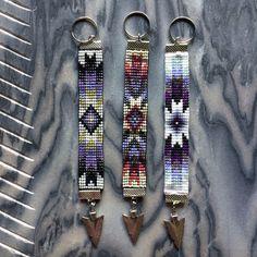 Sunburst Pattern Bead Loom Keychain with Arrowhead Charm