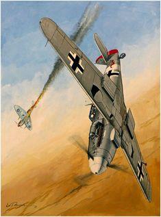 Messerschmitt Bf-109G-2¡Trop. Piloto Hauptmann Werner Shrer, perteneciente a la Jagdgeschwader 27. Año 1943. Lou Drendel