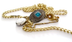 Treasure Bolo. Antique: sterling locket, crystal western brooch, pearl sweater clip & gold chain. #necklace #oneofakind #anice #yyz (167 Augusta Ave)