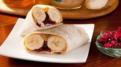 Peanut Butter Banana Wraps with Honey and Dried Cranberries