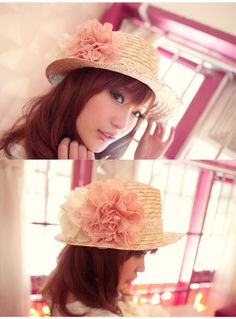 Wholesale Fashionable & Charming Lace Flower Side Pure Color Hat  top dresses