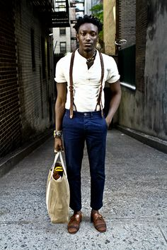 I love this despite the cropped jeans and uber hipster suspenders. i think i love this for the shirt actually, lol #menswear