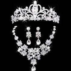 신부 보석 왕관 목걸이 귀걸이 티아라 라인 석 웨딩 액세서리 신부 크리스탈 보석