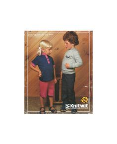 Knitwit 7100 Childs' Knit Tops with Long or Short Sleeves, Pants, Shorts and Panties, Sewing Pattern Multi Size Vintage Patterns, Sewing Patterns, See Picture, Envelopes, 1980s, Short Sleeves, Knitting, Children, Pictures