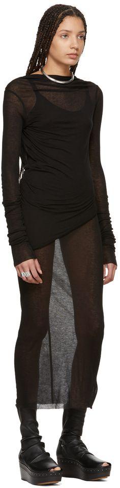Rick Owens Lilies - Black Backless T-Shirt Mini Dress