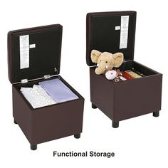 faux leather storage ottoman cube footrest with hinged lid loading capacity 440lbs dark brown ulsf60z - Storage Ottoman Cube