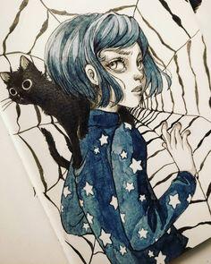 Coraline Drawing, Dessin Old School, Coraline Aesthetic, Coraline Jones, Inspiration Art, Grunge Art, Animated Icons, Art Costume, Arte Horror
