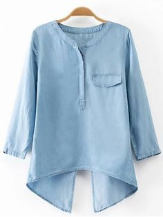 Shop Blue Fake Pocket Cross Back Denim Blouse online. SheIn offers Blue Fake Pocket Cross Back Denim Blouse & more to fit your fashionable needs. Cute Blouses, Shirt Blouses, Blouses For Women, Denim Blouse, Denim Top, Blue Blouse, Blue Denim, Denim Shirt, Mode Hijab