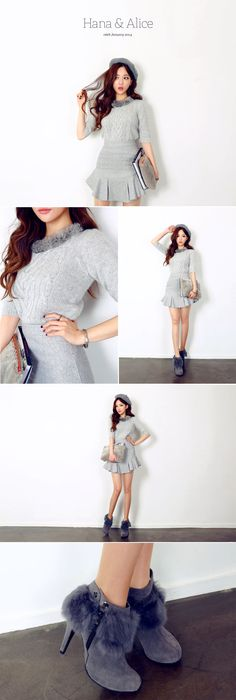 Fur Collar Weave Knit Shirt