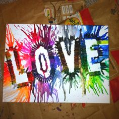 Craft Ideas with Crayons | Craft Ideas / Melted crayon into beautiful artwork