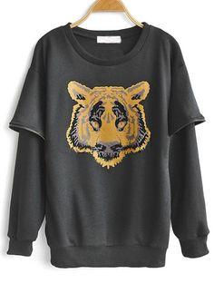 Black Round Neck Tiger Print Zipper Sweatshirt