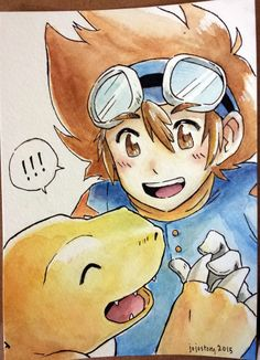 A little watercolor gift! It's Agumon and Taichi reunited :)  #digimon #digimonadventure #tai #taichi #agumon