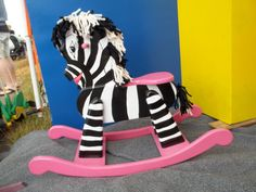 Wooden Rocking Zebra for girl Hot pink accents. by RMDCreations Baby Zebra, Wooden Horse, Clay Pot Crafts, Woodworking For Kids, Hand Painted Rocks, Pink Accents, Child Love, Girl Nursery, Jungle Nursery