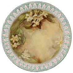 """""""Such fine china"""" ~ free round graphic, white flower pattern"""
