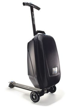 Zip through airports with a scooter by the Swiss brand Micro-Mobility built into a carry-on suitcase from Samsonite.