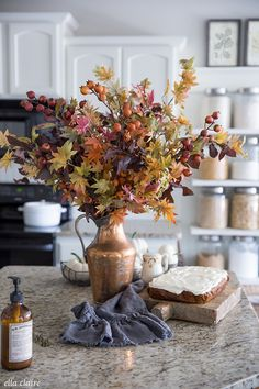 Timeless Fall Kitchen with accents of Burnt Orange, Gold, copper, reds, and other fall colors. Vintage home decor mixed with classic natural fall accents. home Fall Kitchen Fall Kitchen Decor, Fall Home Decor, Kitchen Colors, Design Kitchen, Autumn Home Decorations, Kitchen Yellow, House Decorations, Room Kitchen, Vintage Interior Design