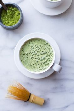 Two Ingredient Almond Milk Matcha Latte- green tea can improve skin clarity, boost metabolism and enhance immunity and it gives you a calm energy without the jittery feeling of coffee!