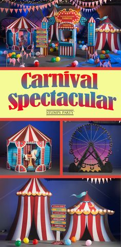 Bring fun & excitement to your event with our Carnival Spectacular theme kit. Complement your event with personalized carnival favors, invitations, and more! Shop all of our carnival party supplies to make your event complete! Carnival Cruises Join Us Carnival Party Supplies, Circus Carnival Party, Circus Theme Party, Carnival Birthday Parties, Carnival Themes, Circus Birthday, The Carnival, Carnival Party Decorations, Halloween Circus