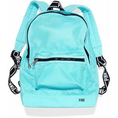 Victoria's Secret Classic Mesh Backpack ($30) ❤ liked on Polyvore featuring bags, backpacks, backpack, pink, victorias secret, mermaid teal, pink bag, mesh bag, teal bag and neon backpack