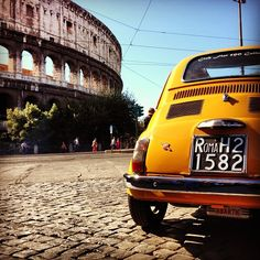 #Fiat500 and the Colosseum...cannot be more Italian than this www.LauraMassoniTravel.com