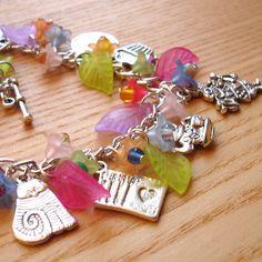 Charm Bracelet - Alice, Wonderland, Cheshire, Cat, Rabbit, Hearts - Unique Sister Birthday Gift - Fashion Jewellery 16th 18th 21st 20 30 40 by sweetpyroangel on Etsy