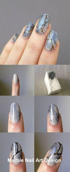 25 Marble Nail Design with Water & Nail Polis Nails Marble Nails Tutorial, Gel Nail Tutorial, Water Nails, Water Marble Nails, How To Marble Nails, Water Nail Art, Marble Nail Polish, Nail Polish Art, Marble Nail Designs