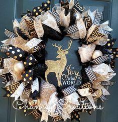 Christmas Wreath Christmas Deer Wreath Deer by ChanceyCreations Christmas Mesh Wreaths, Christmas Deer, Deco Mesh Wreaths, Christmas Time, Christmas Decorations, Burlap Wreaths, Diy Wreath, Gold Wreath, Wreath Ideas