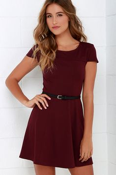 Get a little romantic in the Lingering Kiss Burgundy Dress! Medium-weight knit fabric begins at a wide, rounded neckline fashioned with flattering cap sleeves. Contouring the bodice, decorative seams transition effortlessly into the slightly flaring skirt. Belt is not included. Unlined. 60% Rayon, 32% Polyester 8% Spandex. Hand Wash Cold. Imported.