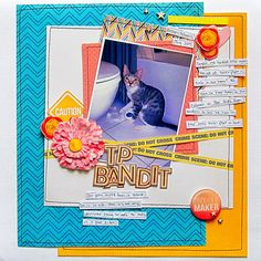 Caught in the act- a kitten playing with a toilet paper roll. Christy Strickler for Traci Reed Designs and My Scrapbook Evolution