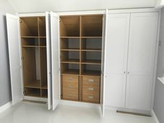 Loft room fitted spray painted wardrobe