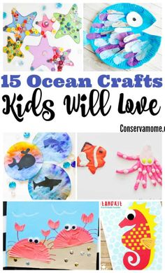 These fun Ocean Crafts will bring hours of fun to your little ones while they explore and create all things Under the sea w/ 15 Ocean Crafts Kids will love! Ocean Activities for Kids Beach Crafts For Kids, Summer Crafts For Toddlers, Under The Sea Crafts, Toddler Crafts, Around The World Crafts For Kids, Sea Activities, Craft Activities For Kids, Preschool Crafts, Projects For Kids