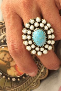 Bold Turquoise & White Ring