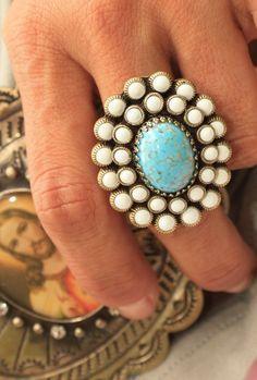 Bold Turquoise & White Ring