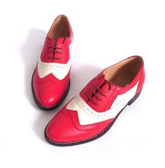 Red and white cow leather oxford shoes-