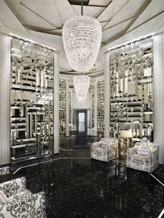 ARIA..Beveled Mirror Tile Wall at the St. Regis Bal Harbour- A beautiful application for beveled mirrors that Bianco Glass Products can replicate with their in-house beveling capabilities.