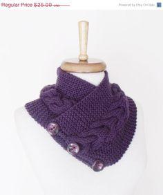 BLACK FRIDAY SALE Purple Ivy NeckwarmerReady For by knittingshop, $22.50