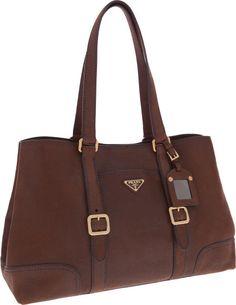Prada Brown Leather Large Shoulder Bag